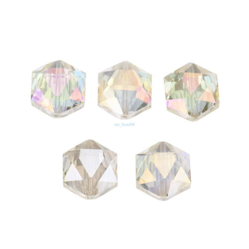 Hexagone Facette Verre Cristal Charms Loose Spacer Washer Perles 14 18 mm 10Pcs
