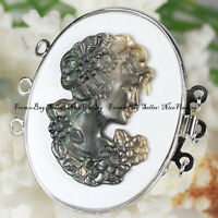 Beautiful Natural Shell Cameo Woman Clasp 3 Strands Jewelry