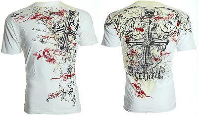 Archaic AFFLICTION Mens T-Shirt HINSLEY Skull Wings Tattoo Biker UFC L-4XL $40 b