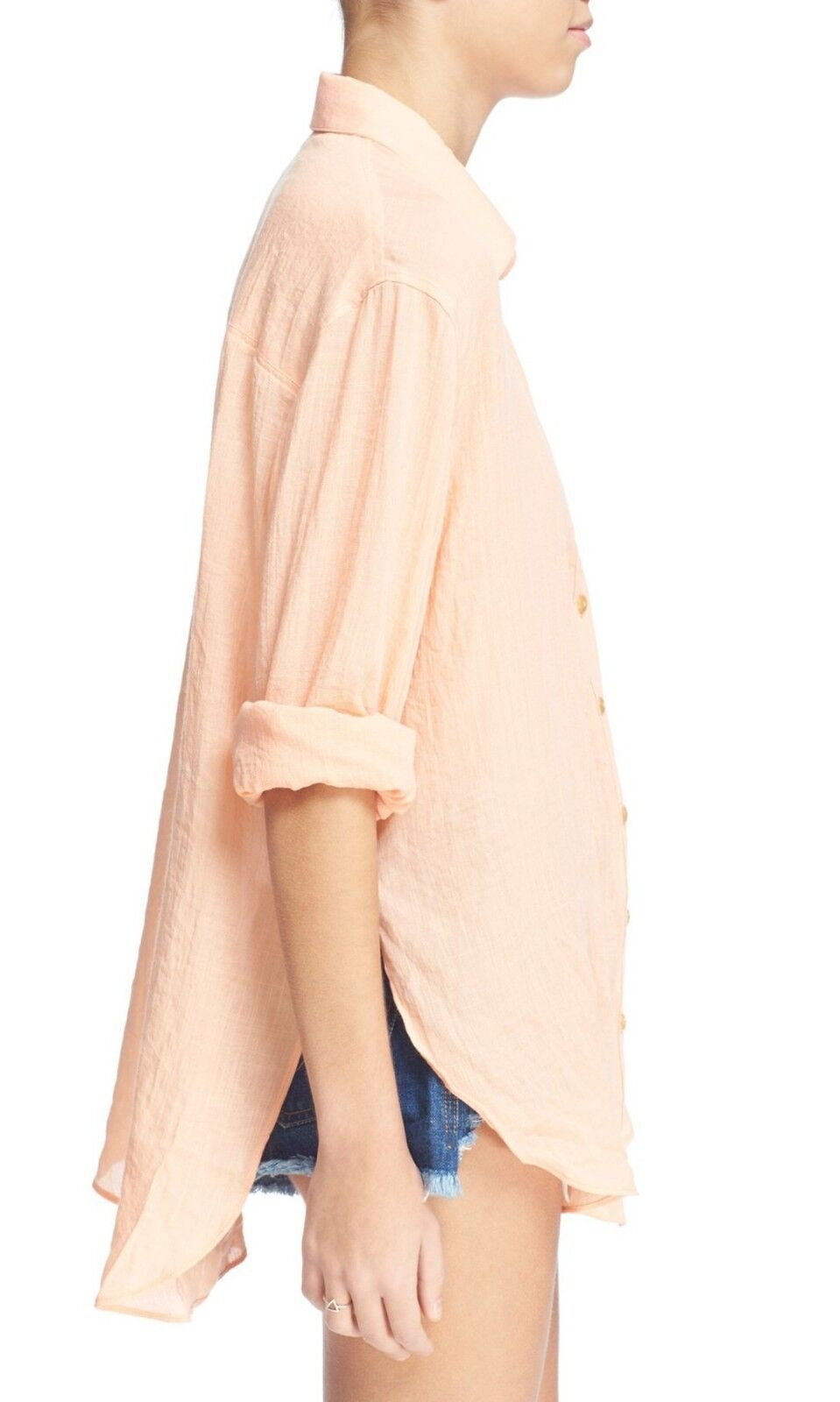Amazing Free People peach 'thats a wrap' shirt - XS