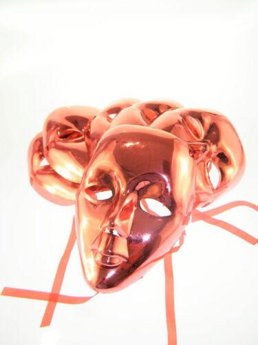 6x Maske Gesichtsmaske Metallic Metall Look Rot Karneval