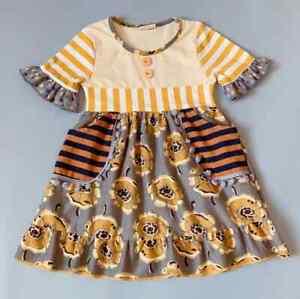 NEW-Girls-Boutique-Sunflower-Short-Sleeve-Ruffle-Dress-5-6-6-7-7-8