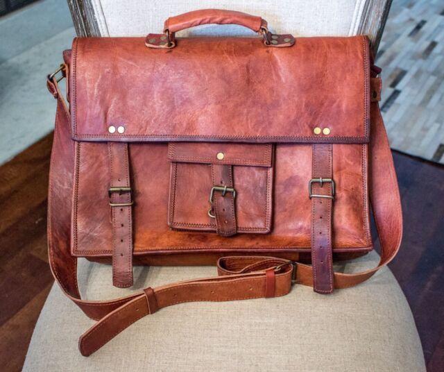 ab6cd6bcf5 Men s Leather Messenger Shoulder Bags Business Work Briefcase Laptop Bag  Handbag