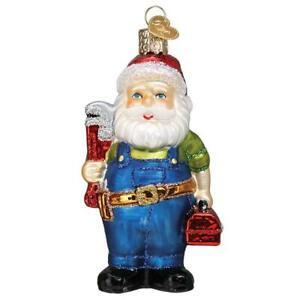 Old-World-Christmas-HANDYMAN-SANTA-40310-N-Glass-Ornament-w-Box