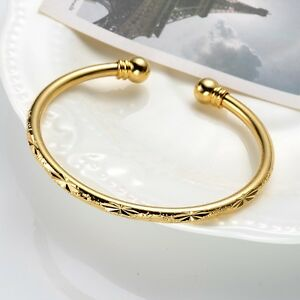 Women-039-s-Bangle-18k-Yellow-Gold-Filled-Open-Charms-Bracelet-Fashion-Jewelry