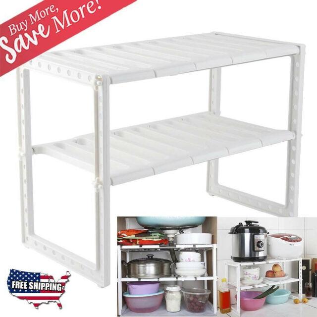 . 2 Tier Under Sink Cabinet Organizer Storage Rack Expandable Kitchen Bath  Shelf