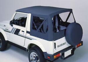Suzuki-Samurai-SJ-410-413-Dach-schwarz-Top-Plane-Ersatzhuelle-Ersatzplane-Softtop