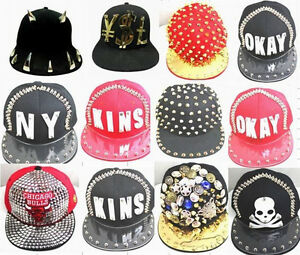 9ce139c5774 Snapback Mens Cap Hat 3D Letters Rivet Spikes Bolted 1pc many design ...