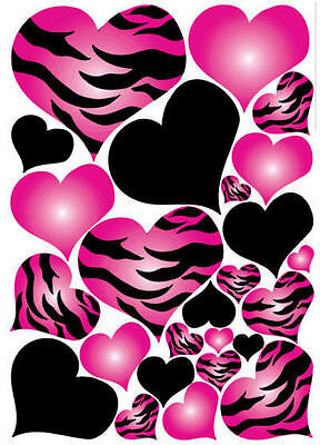 HEARTS hot pink & black zebra print wall stickers 25 big decals animal love teen