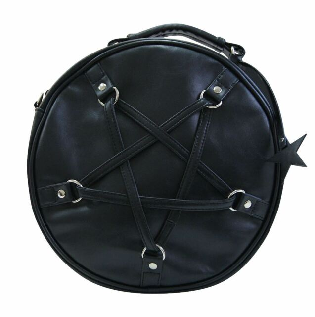 BANNED Apparel Time Travel Occult Pentagram Round Handbag Black for ...