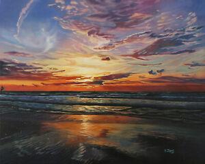 Original-Artwork-oil-painting-Ocean-sunset-on-stretch-canvas-seascape-16-039-039-x20-034