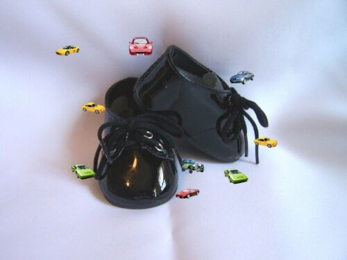 Black patent Unisex Shoes 54 mm ~ REBORN DOLL SUPPLIES AND CLOTHING