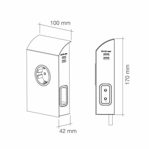2 x Euro Anbausteckdose 1 x Schuko 2 x USB Edelstahloptik Unterbausteckdose
