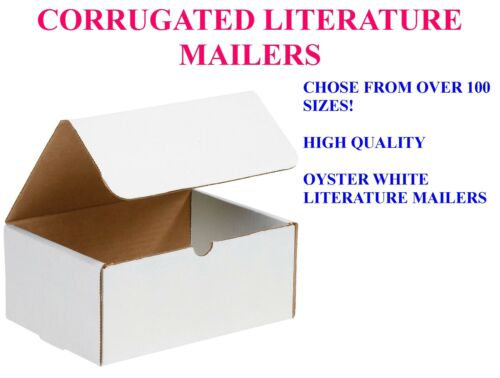 50 PACK LITERATURE MAILERS WHITE CORRUGATED SHIPPING PACKING PROTECTIVE BOXES