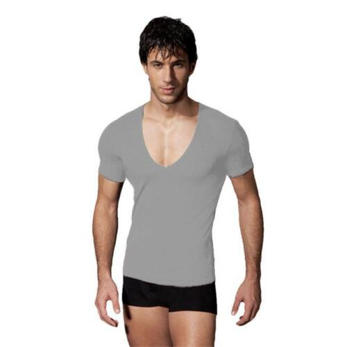 Mens T-Shirt Long Sleeve V Neck Stretch Fitted Plain Solid Color  Low Cut HY