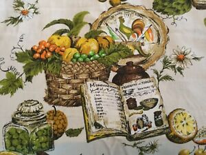 Details about Vintage 60s Mid Century Screen Print Rooster Recipes Fruit  Cotton Fabric 48x38