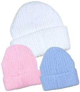 fcc2cb9e6 Details about BabyPrem Baby Winter Hats Warm Boys & Girls Beanie Hat White  Blue Pink 0-6m