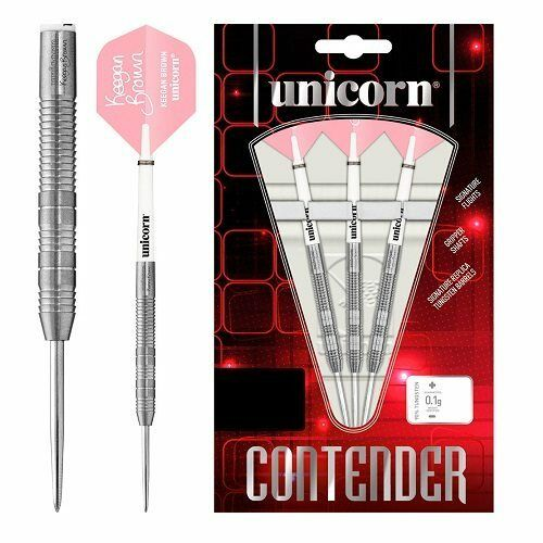 Unicorn Keegan Brown Contender 90% Tungsten Steel Tip Darts – 22g
