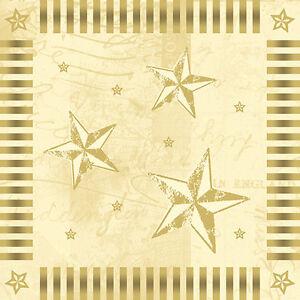 100-Servietten-3-lagig-1-4-Falz-33-cm-creme-034-Star-Shine-034-Weihnachten-Sterne