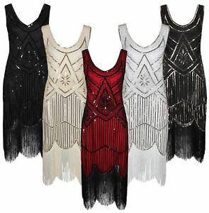 Ro-Rox-Great-Gatsby-Costume-1920-039-s-Cocktail-Party-Sequin-Fringe-Flapper-Dress