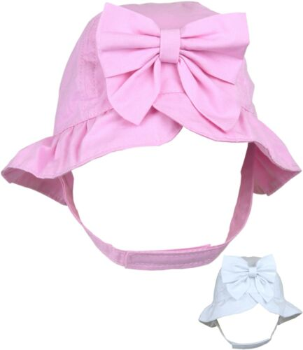 BabyPrem Baby Girls Sun Hat White Pink Cloche Style Summer Hats Age 3 6 12 18 m