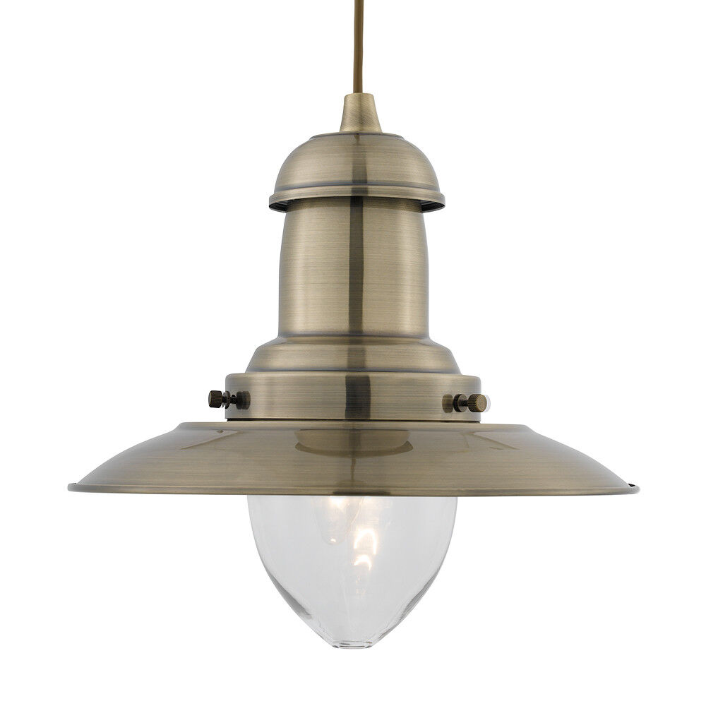 Searchlight Antique Brass Fisherman Clear Glass Shade Ceiling Pendant Lamp Light