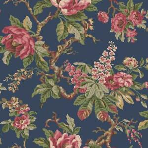 Wallpaper Designer Vintage Garden Red Pink Yellow Green Floral Vine on Navy