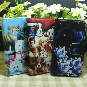 Cute-Cat-Dog-Family-blue-Flower-Wallet-Kickstand-flip-case-cover-for-Sony-Phone