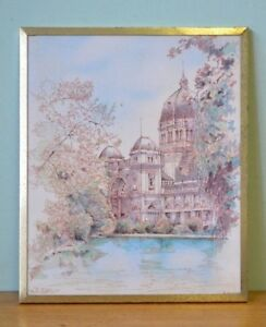 Vintage-Print-Home-Art-amp-Deco-water-colour-gold-frame-french-provincial-YLBT17