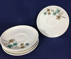 Saucer-Carefree-True-China-Woodbine-by-SYRACUSE-5-75-034-Set-of-FIVE-1959-1970
