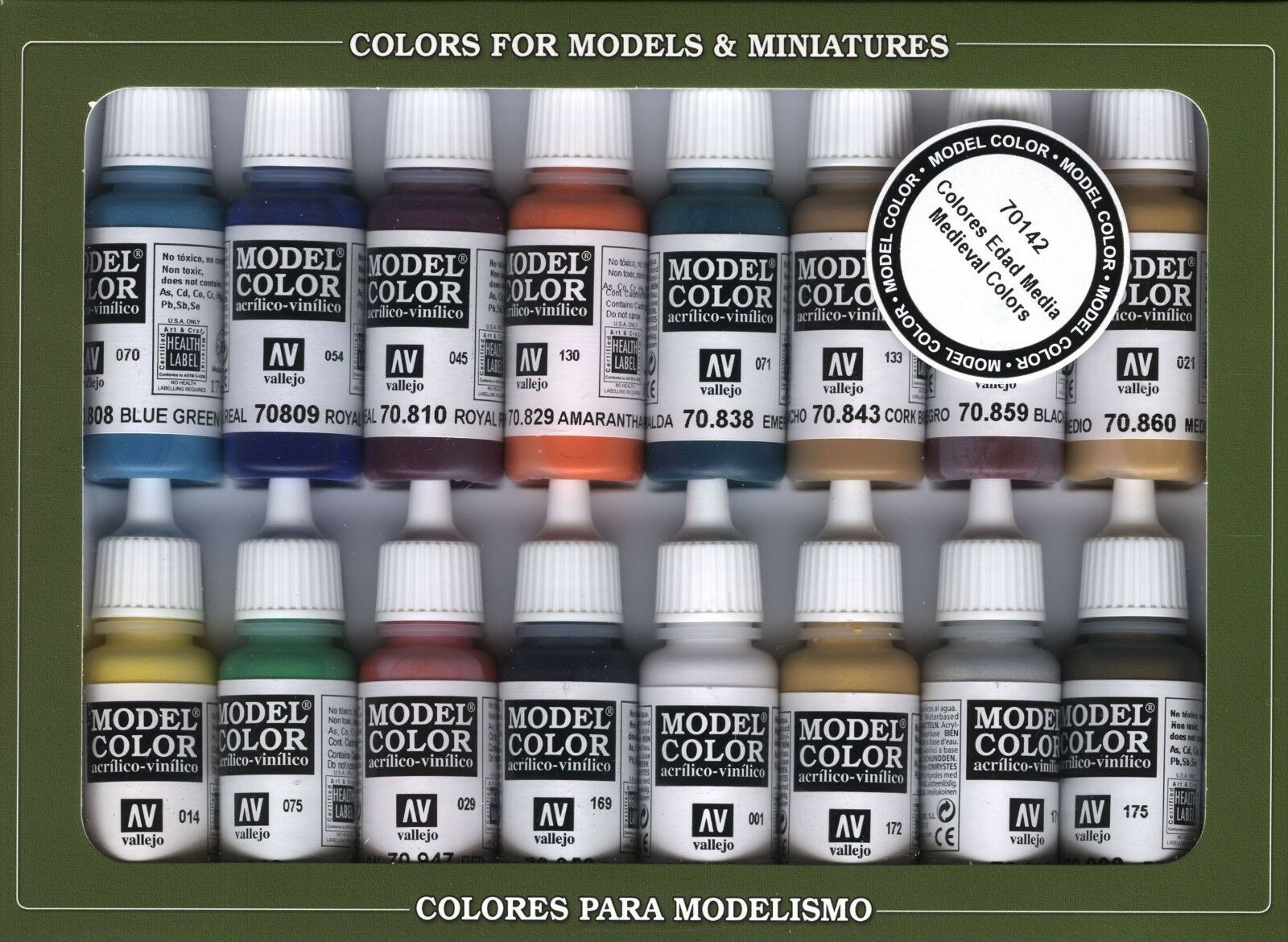 Medieval colors  16 Paint Set for Models, Hobby (Vallejo 70142)