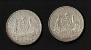 1923-4-Australia-2-Florin-2-coins-Very-Good
