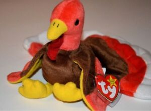 Rare Gobbles Ty Beanie Babies turkey just in time for Thanksgiving!MWNMTs