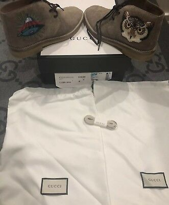 fd9c448394f2 NEW IN BOX 100% AUTHENTIC GUCCI OWL SUEDE BEAR ARDESIA SNEAKERS SHOE G 7 US