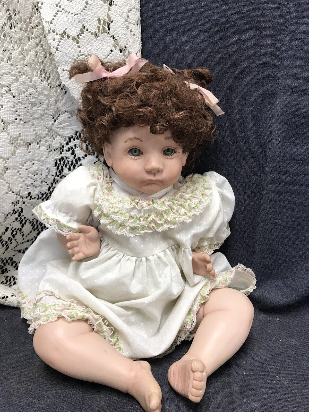 Marked On Back Of Neck Baby Doll Realistic Baby Girl Wearing Size 1 Dress