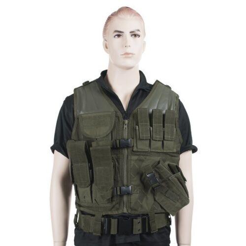 Mil-Tec USMC Army Tactical Assault Combat Vest Pouches Holster Olive Drab