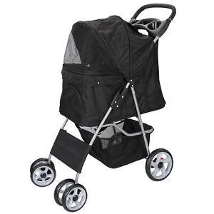 Dog-Stroller-Travel-Folding-Carrier-Small-Medium-Cat-Pet-4-Wheeler-w-Cup-Holder