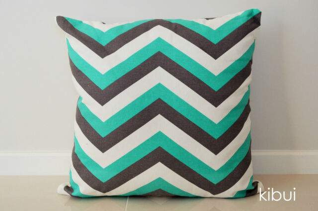 Chevron Home Decor Cushion Cover Throw 100% Cotton Dark Grey/Green 45cm NEW