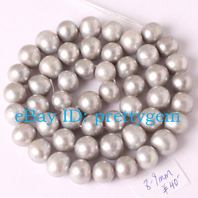 8-8.5mm Natural Nearly Round Gray Freshwater Pearl Spacer Loose Beads Strand 15""