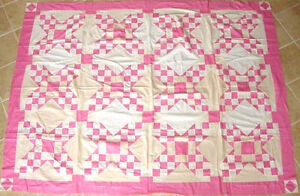 PINK-amp-WHITE-TOUCHING-STARS-ANTIQUE-QUILT-TOP-c-1930s