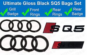 Audi-SQ5-Gloss-Black-Badge-Calandre-amp-Boot-rear-badge-embleme-Set-Anneaux