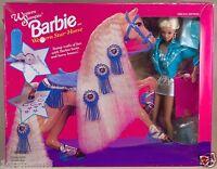 Vintage Western Stampin' Barbie With Star Horse In Box 1993