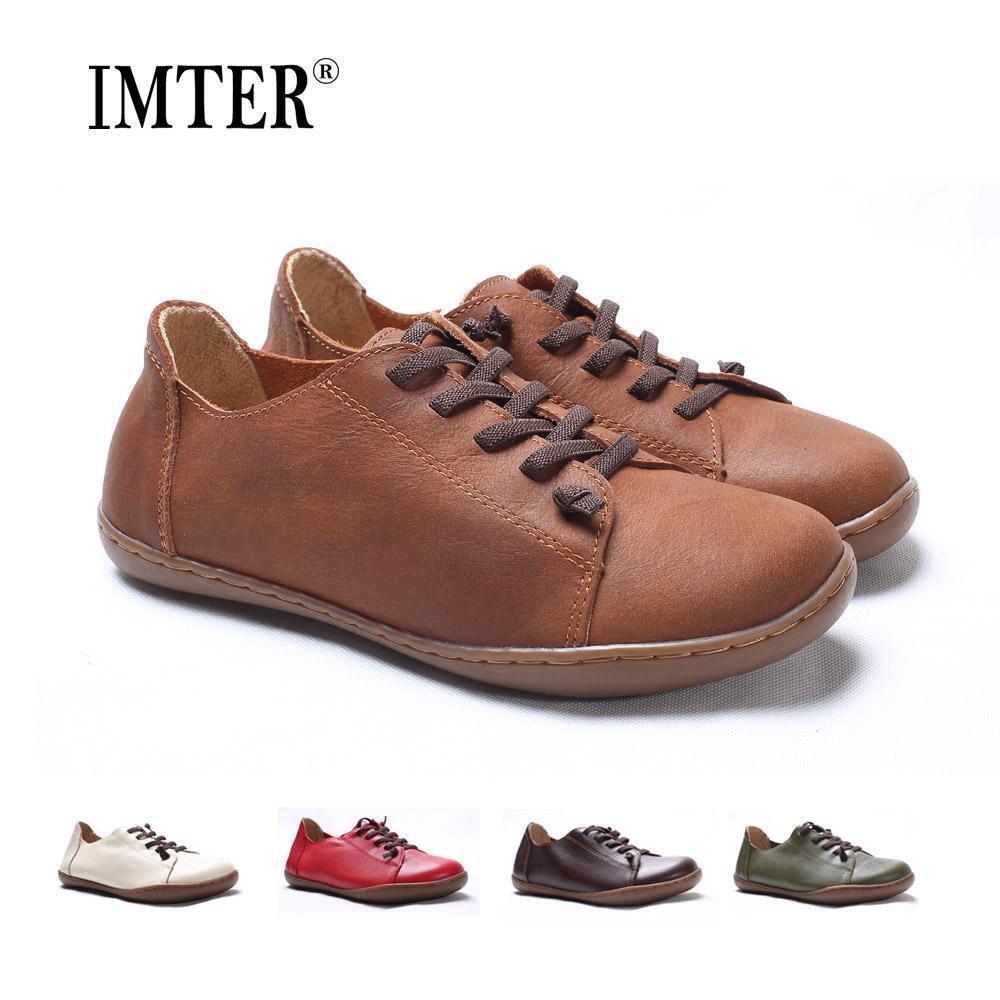 Femmes Plat 100% Authentique Cuir Plain Toe Lace Up chaussures femmes