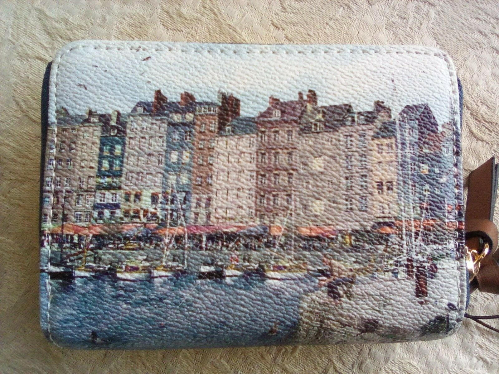 Parfois Textured Faux Leather Wallet Scenes from Amsterdam Waterside Boats NWT