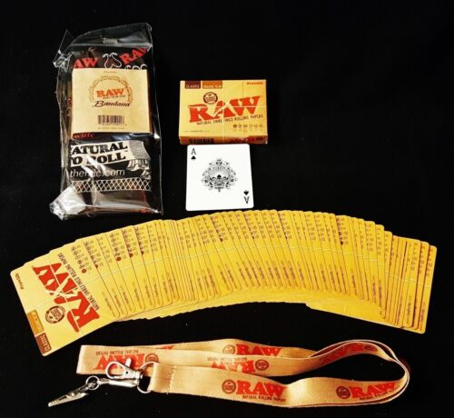 1 Deck Raw Rolling Papers Playing Cards,1 Lanyard KeyChain /& 1 Bandanna gift set