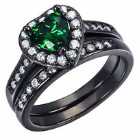 Women's .925 Sterling Silver Heart Created Emerald Bridal Wedding Ring Band Set