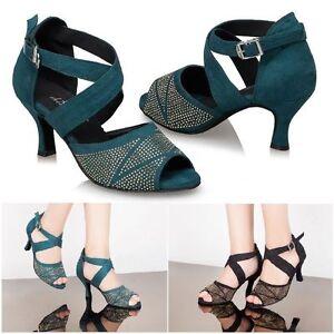 Suede Latin Dancing Shoes Women/'s Rhinestone Soft Sole Salsa Ballroom Dance Shoe