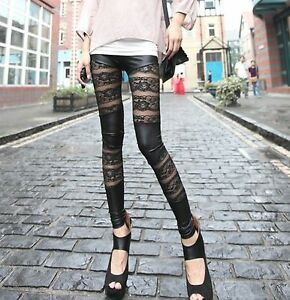 Women-Lady-Celebrity-Sexy-Party-Lace-Wet-Leather-Look-pants-Tights