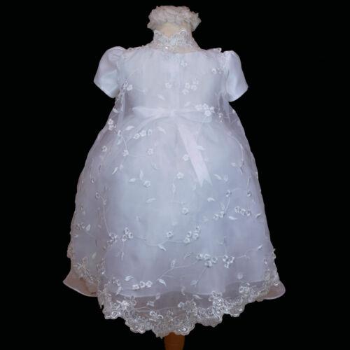 New Infant Toddler Girl White Gown Christening Baptism Formal Dress Sz 0 1 2 3 4