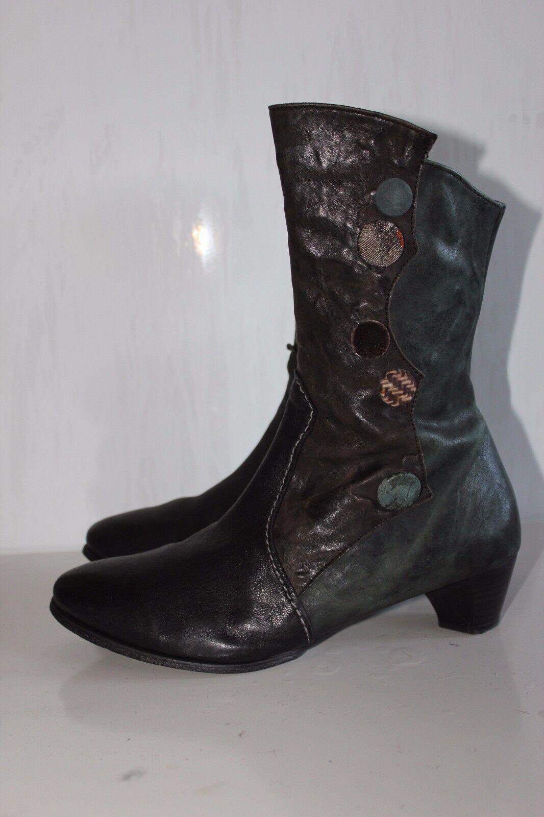 THINK AUSTRIA Superschöner Braun+Grün Echtleder Stiefel, Gr. 37, Top Zustand  | Hohe Qualität und geringer Aufwand